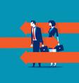 business person standing between arrows concept vector image vector image