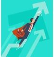 businessman in a suit superhero flies up vector image