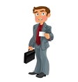 Businessman in grey suit with white business card vector image