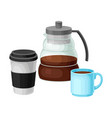 coffee beverage poured in cup and teapot isolated vector image vector image