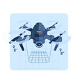 copter flies and paves route vector image vector image