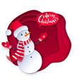 cut paper of snowman vector image vector image