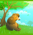 emotional brown teddy bear on lawn in woodland vector image vector image