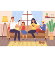family using gadgets parents and kids home vector image vector image