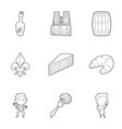 french food icons set outline style vector image vector image