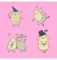 funny bunnies on a white background vector image vector image