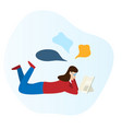 girl is reading a book and laying on the floor vector image vector image