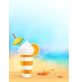Glass of exotic orange cocktail on beach vector image vector image