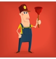 Hand drawn plumber character vector image