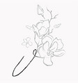 handwritten line drawing floral logo monogram v vector image vector image
