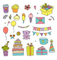 happy birthday color doodle set hand drawn vector image