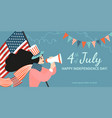 happy fourth july congratulatory banner vector image