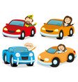 happy people in cars vector image vector image