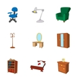 Home furniture icons set cartoon style vector image vector image