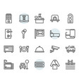 hotel service icon and symbol set in outline vector image vector image