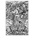 imp in hell engraved fantasy vector image vector image