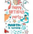 invitation childrens holiday cute shark sea fish vector image vector image