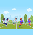 kids children playing american football match vector image