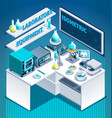laboratory table isometric composition vector image