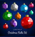 low poly marry christmas balls set vector image vector image