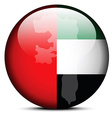 Map on flag button of United Arab Emirates vector image vector image