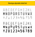 monotype letters stroke font alphabet and numbers vector image