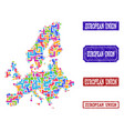 mosaic map of euro union and scratched seals vector image
