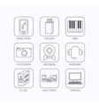 Photo camera headphones and Usb flash icons vector image vector image