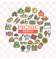 picnic party round design template thin line icon vector image vector image
