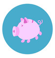 piggy bank icon web button on round blue vector image vector image