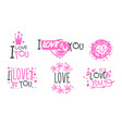 pink logos with a declaration love set of vector image vector image