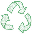 recycling symbol with hand drawn symbol element vector image