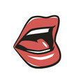 red lips isolated on white background temptation vector image vector image