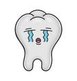 sad crying funny tooth cartoon vector image vector image