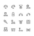 scales and weighing icon set in thin line style vector image vector image