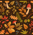 seamless pattern decorated with autumn leaves vector image