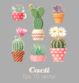 set high detailed cacti vector image