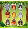 set of cartoon animal sticker vector image vector image