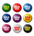 set of round buttons with words sold out vector image vector image