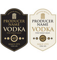 set two labels for vodka in retro style vector image vector image