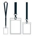 silhouette of lanyard with neckband badge with vector image vector image