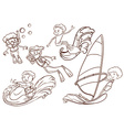Simple sketch of people doing water sports vector image vector image