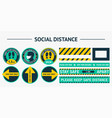 sticker round social distance stickers please vector image vector image