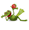 stock frog with strawberry vector image vector image