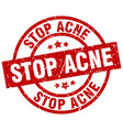 stop acne round red grunge stamp vector image vector image