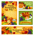 thanksgiving day posters and banners vector image vector image