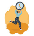 tiny woman running with clock vector image vector image