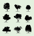 tree collection flat icon vector image vector image