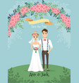 save the date wedding invitation with bride and vector image