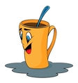 Cartoon cup Mug with surprised facial expression vector image